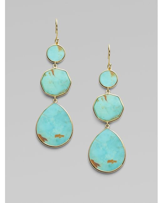 Ippolita | Blue Polished Rock Candy Turquoise & 18k Yellow Gold Crazy 8s Drop Earrings | Lyst
