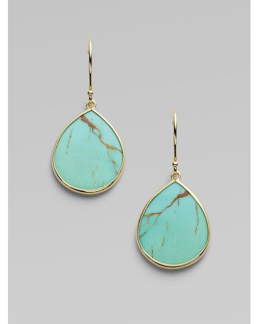 Ippolita | Blue Polished Rock Candy Turquoise & 18k Yellow Gold Mini Teardrop Earrings | Lyst