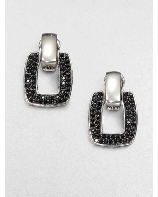 John Hardy | Metallic Classic Chain Black Sapphire & Sterling Silver Doorknocker Earrings | Lyst