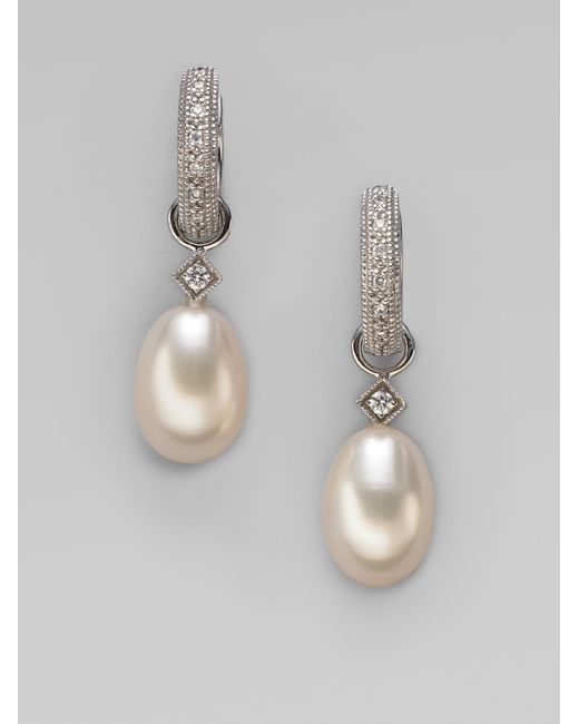 Jude Frances   7mm Classic White Oval Pearl, Diamond & 18k White Gold Briolette Earring Charms   Lyst