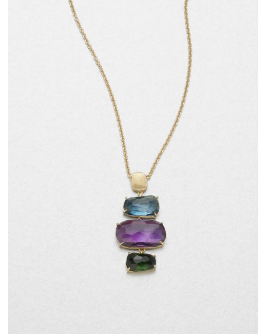 Marco Bicego | Metallic Murano Amethyst, Blue Topaz, Green Tourmaline & 18k Yellow Gold Column Pendant Necklace | Lyst