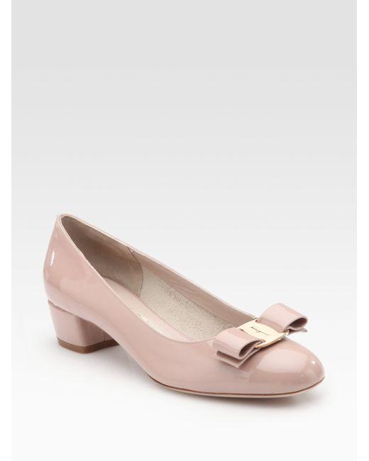 Ferragamo | Pink Vara Patent Leather Pumps | Lyst