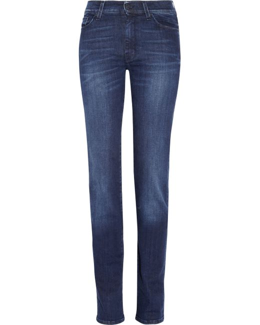 7 For All Mankind | Blue B(air) Destroyed Skinny Ankle Jeans In Duchess | Lyst