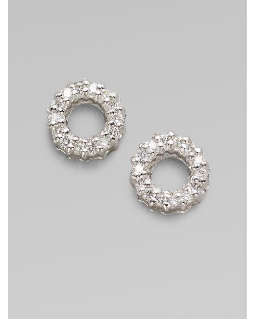 Roberto Coin | Diamond & 18k White Gold Circle Earrings | Lyst