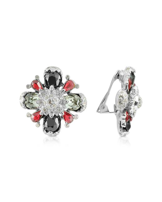 AZ Collection | Metallic Flower Clip-on Earrings | Lyst