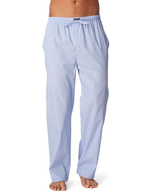 polo ralph lauren gingham pyjama bottoms in blue for men. Black Bedroom Furniture Sets. Home Design Ideas