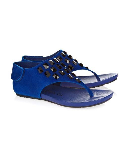 Pedro Garcia   Blue Jessica Swarovski Crystal-embellished Suede Sandals   Lyst