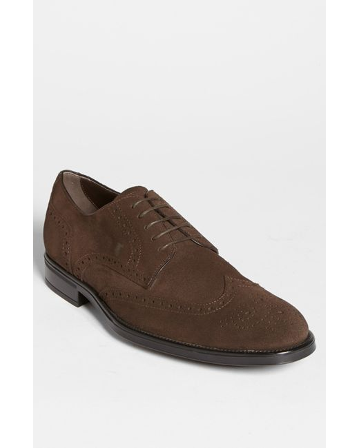 Tod's | Brown 'derby' Suede Wingtip for Men | Lyst