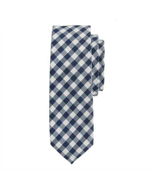 J.Crew | Blue Cotton Tie In Classic Gingham for Men | Lyst