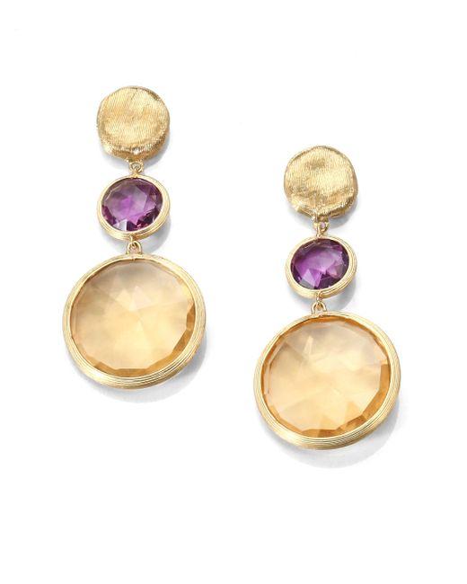 Marco Bicego | Purple Jaipur Amethyst, Citrine & 18k Yellow Gold Drop Earrings | Lyst