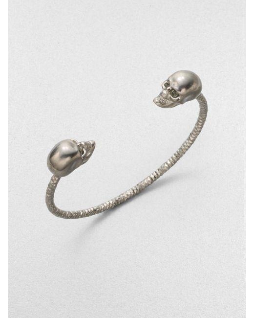 Alexander McQueen | Gray Twin Skull Bracelet/silvertone | Lyst