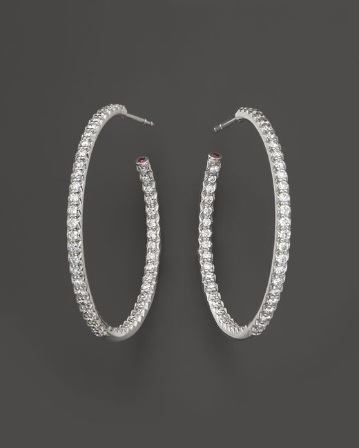 Roberto Coin | 18k White Gold Large Micro Pave Diamond Hoop Earrings, 0.98 Ct. T.w. | Lyst