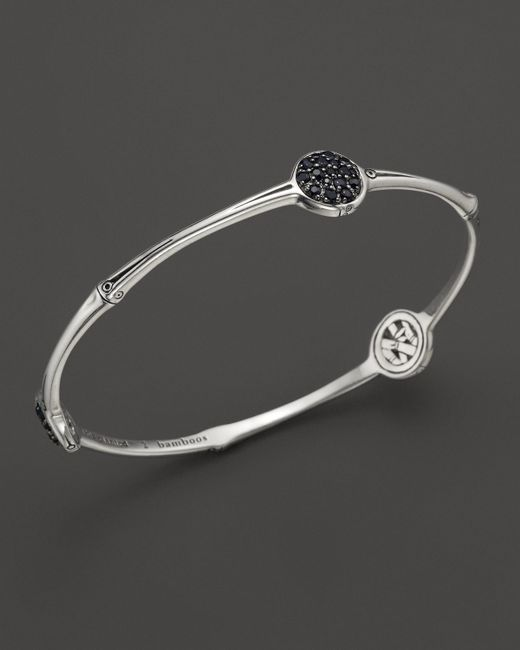 John Hardy | Bamboo Sterling Silver Slim Three Station Bangle With Black Sapphire | Lyst