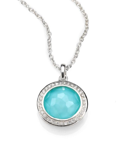 Ippolita | Metallic Turquoise Doublet, Diamond & Sterling Silver Pendant Necklace | Lyst