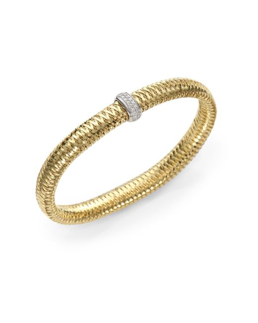 Roberto Coin | White 18k Yellow Gold Primavera Woven Bracelet With Diamonds | Lyst