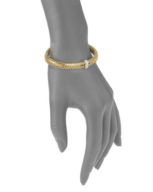 Roberto Coin | White Primavera Diamond & 18k Yellow Gold Medium Woven Bracelet | Lyst