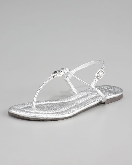Tory Burch | Metallic Emmy Thong Sandals | Lyst