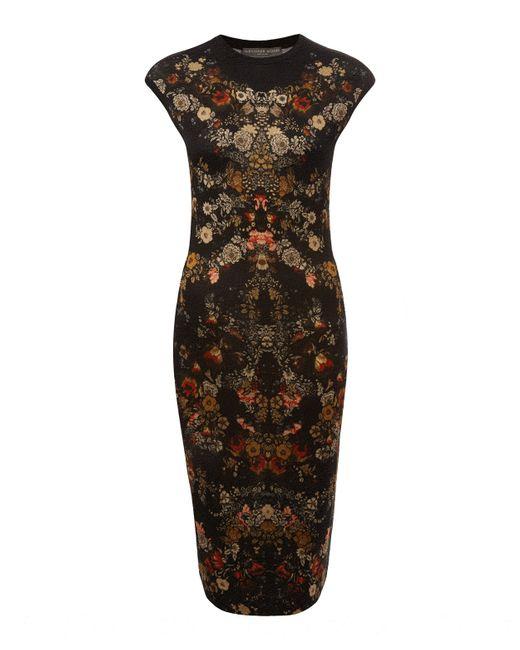 Alexander McQueen | Black Printed Jersey Dress - Multicolor | Lyst