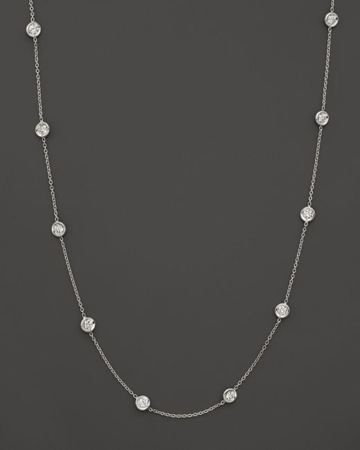 Roberto Coin | 18k White Gold Diamonds By The Inch Necklace | Lyst