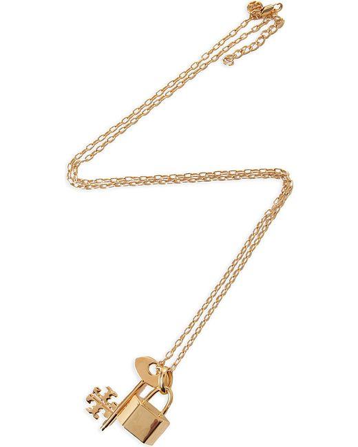 Tory Burch | Metallic Riley Lock And Key Pendant | Lyst