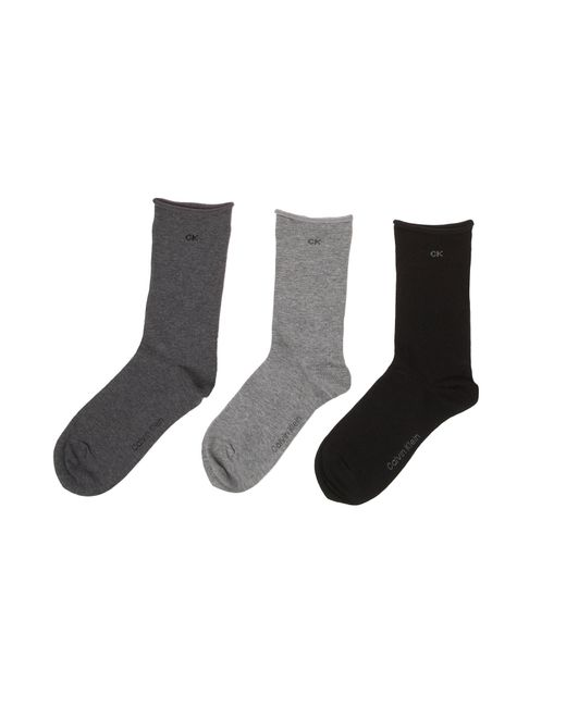 Calvin Klein | Gray Roll Top 3 Pair Pack Ankle Socks | Lyst