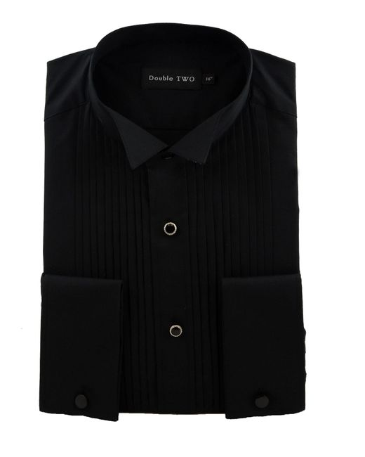 Double two stitch pleat dress shirt in black for men lyst for Black pleated dress shirt