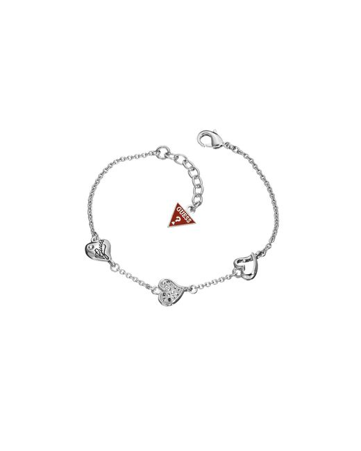 Guess | Metallic Rhodium Plated Triple Heart Bracelet | Lyst