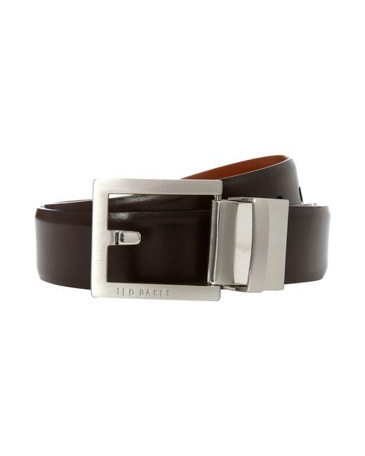 Ted Baker | Brown Reversible Logo Plaque Belt for Men | Lyst