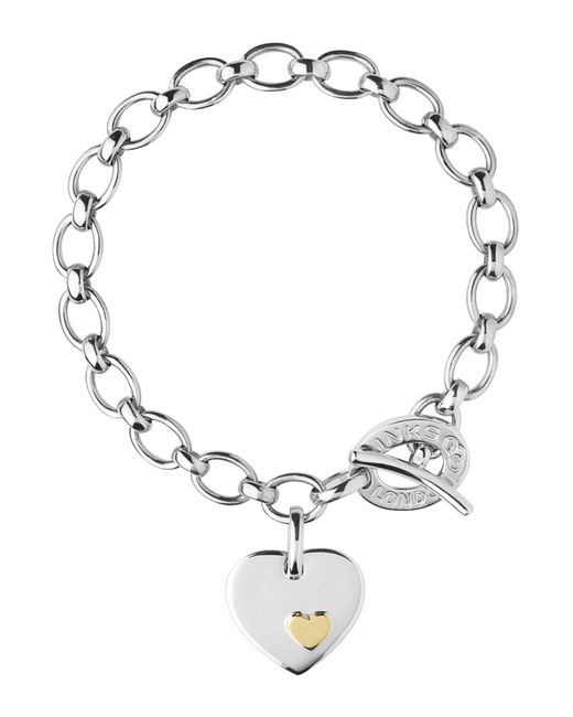 Links of London | Metallic Charm Bracelet Heart Disc | Lyst
