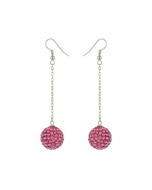 Mikey | Pink 16mm Crystal Drop Earrings | Lyst
