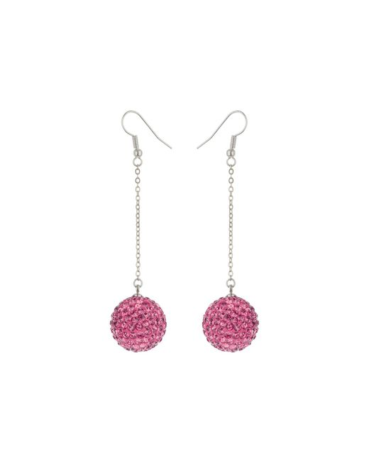 Mikey | Pink 18mm Crystal Drop Earrings | Lyst