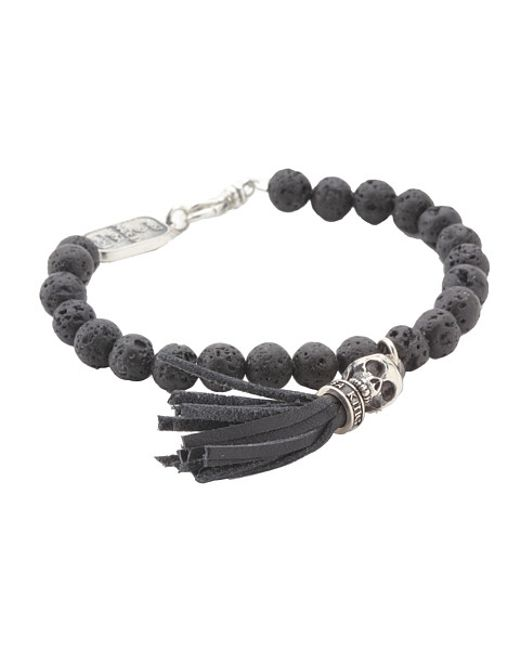 King Baby Studio | Black Lava Rock & Sterling Silver Beaded Cross Bracelet | Lyst