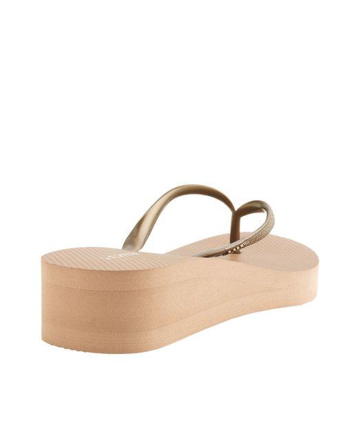 Jcrew Skinny Wedge Rubber Flip-Flops In Gold Metallic Gold  Lyst-2873