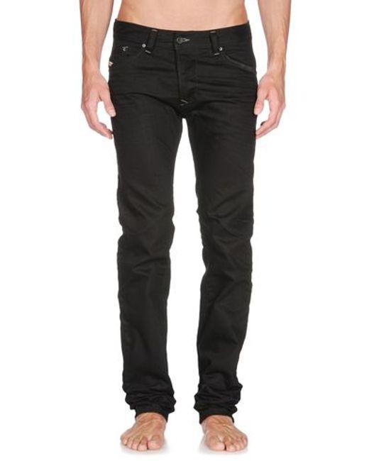 DIESEL | Black Thavar-dest Leather Pant for Men | Lyst
