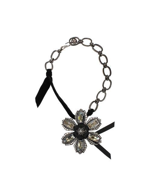 Lanvin Black Big Flower Necklace