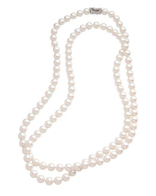 Brooks Brothers | White 10mm Glass Pearl Necklace With Deco Clasp | Lyst