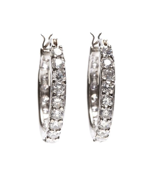 Brooks Brothers | Metallic Cubic Zirconia Hoop Earrings | Lyst