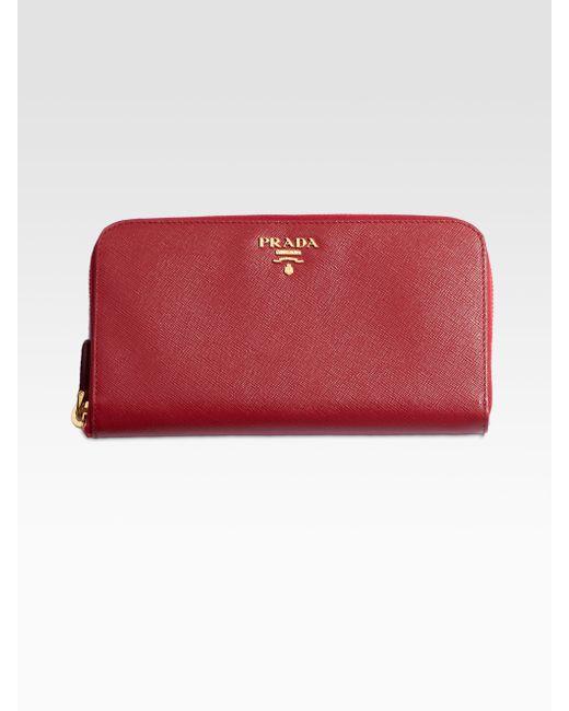 Prada | Red Saffiano Metal Oro Wallet | Lyst