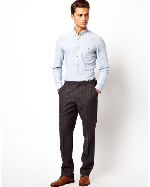 Asos Slim Fit Suit Pants In Herringbone in Gray for Men | Lyst