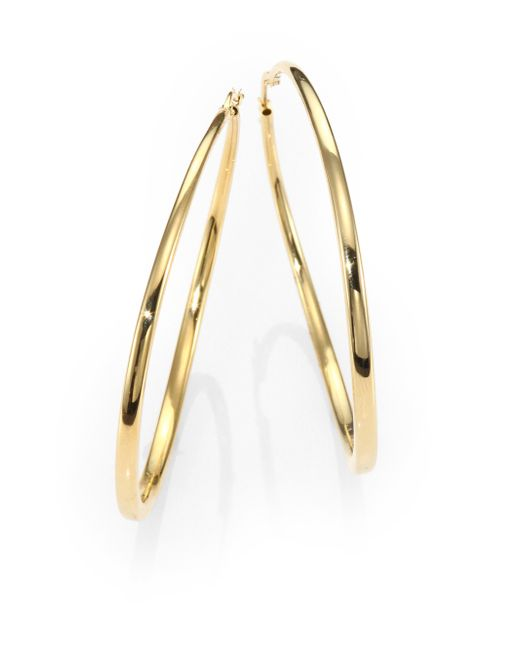 Roberto Coin | Metallic 18k Yellow Gold Hoop Earrings/2.5 | Lyst