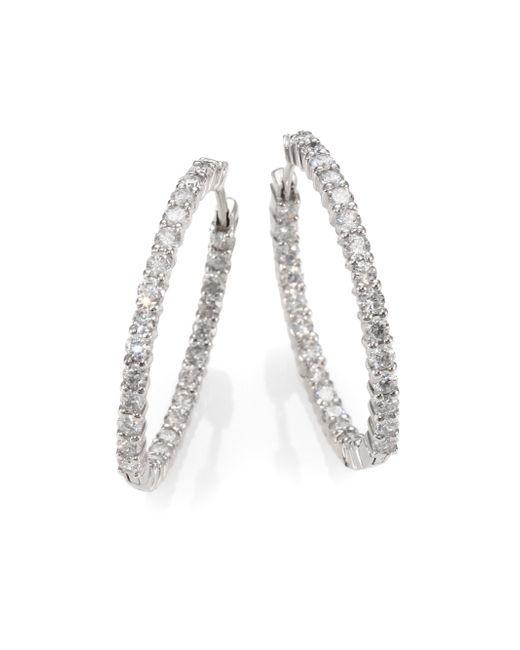 Roberto Coin   Metallic Diamond & 18k White Gold Hoop Earrings/1.2   Lyst