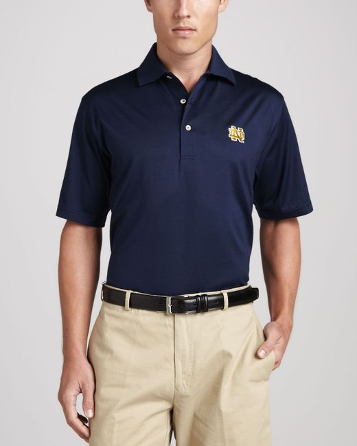 Peter millar notre dame gameday polo in blue for men navy for Peter millar women s golf shirts