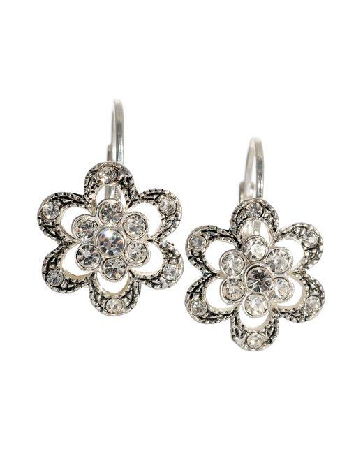 Betsey Johnson | Metallic Crystal Flower Earrings | Lyst