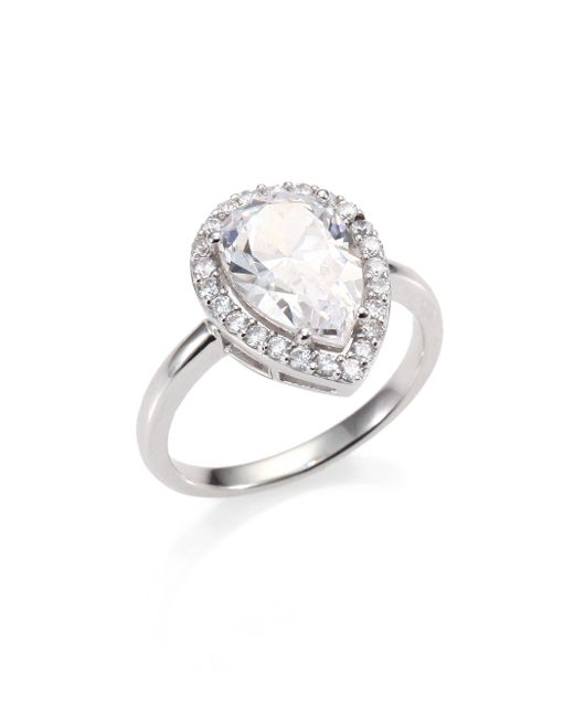 Adriana Orsini | Metallic Sterling Silver Pave Framed Pear-cut Ring | Lyst