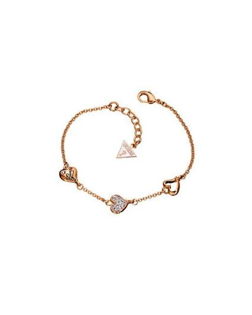 Guess | Pink Triple Heart Bracelet | Lyst