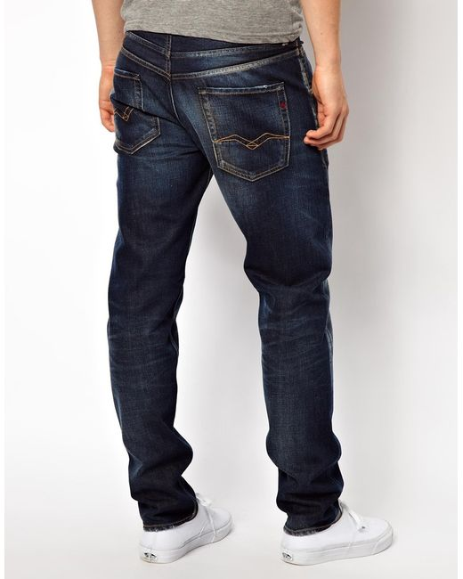 replay hyperfree ma947 slim tapered low crotch jeans superstretch in mid blue in blue for men. Black Bedroom Furniture Sets. Home Design Ideas