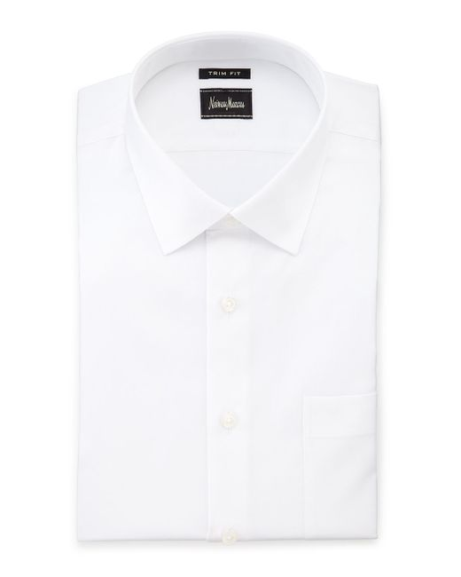 Neiman marcus trim fit stretch dress shirt in white for for How to stretch a dress shirt