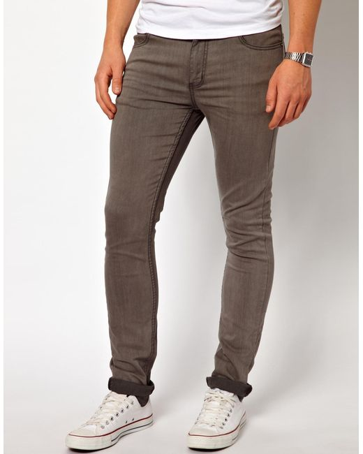 cheap monday jeans tight skinny fit in mid grey wash in. Black Bedroom Furniture Sets. Home Design Ideas