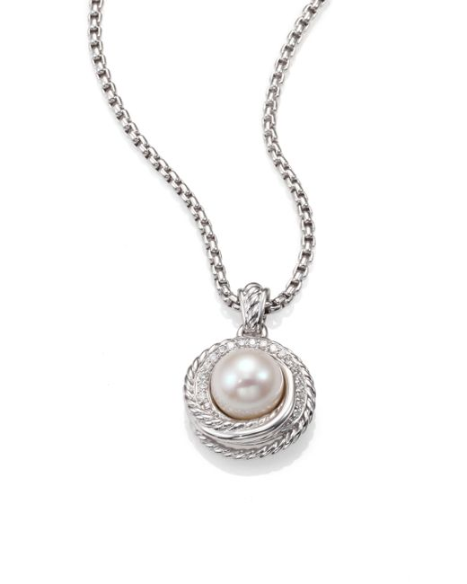 David Yurman | Metallic Petite Albion® Pendant Necklace With Black Orchid And Diamonds | Lyst