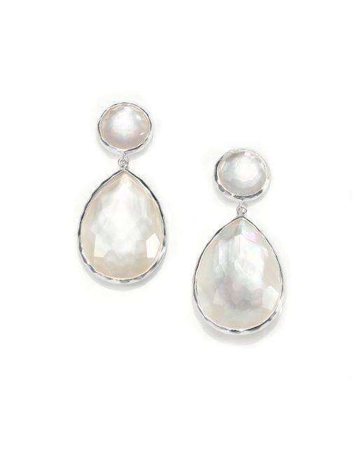 Ippolita | Metallic Wonderland Mother-of-pearl, Clear Quartz & Sterling Silver Teardrop Snowman Doublet Post Earring | Lyst